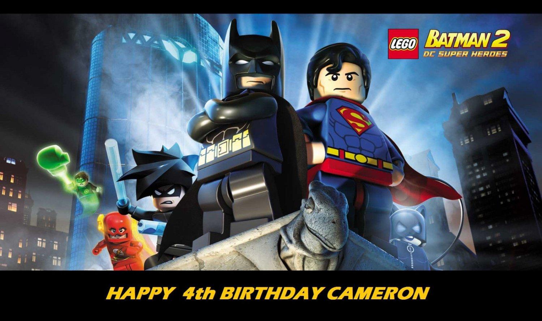 Lego Batman w/ Superman Edible image Cake topper decoration