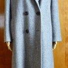 Herringbone women long coat size large. double breast black collar. VTG.