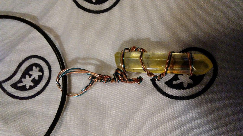 Lemurian quartz pendant