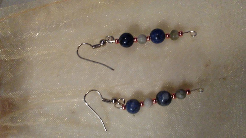 Sodalite and moss agate earrings