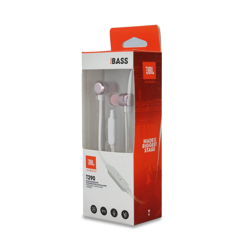 JBL T290 Harman Premium Aluminum In-Ear Headphones with remote/mic - RoseGold