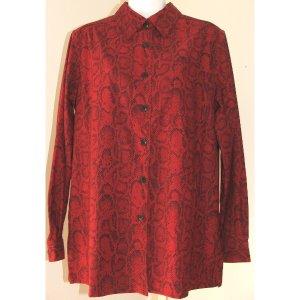 DENIM & CO. Red  Black Print Shirt M
