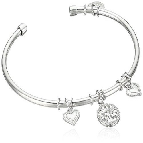 CZ Hallmark Bangle In Solid 925 Sterling Silver w/ Free Leather Box