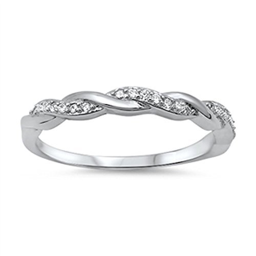 CZ Infinity Promise Ring in Solid 925 Sterling Silver Size 8 w/ Free Gift Box