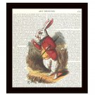White Rabbit Alice in Wonderland Dictionary Art Print 8 x 10 Inches Free US Shipping