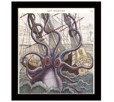Octopus Art Print, 8 x 10 Nautical Decor, Vintage Illustration, Free US Shipping