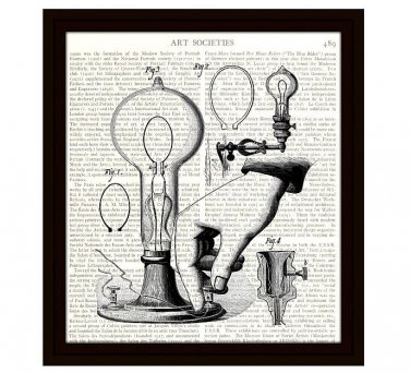 Light Bulbs Steampunk Dictionary Art Print 8 x 10 Inches Free US Shipping