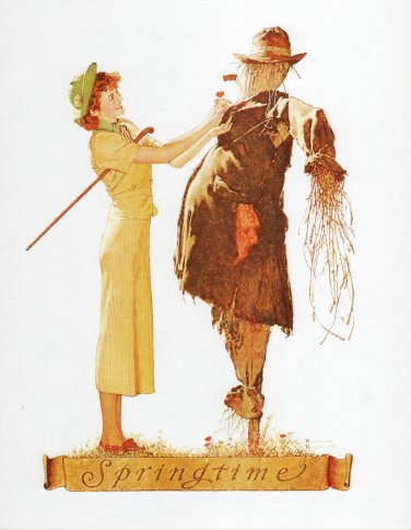 Norman Rockwell Art Print, 8 by 10 1/2 Lithograph, Rise and Shine, Free US Shipping