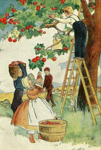 1937 Art Print, Children Picking Apples, Nostalgia, 5 x 7 Lithograph, Free US Shipping