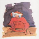 Baby Boy in Cradle, 8 x 8 Inches, Watercolor Art Print, Artist Brian Bagnall, Free US Shipping