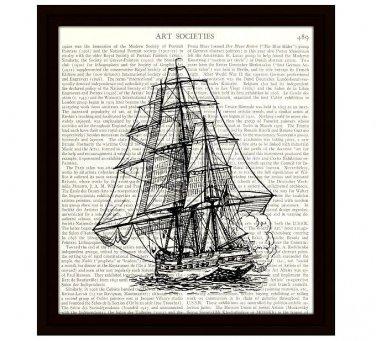 Nautical 8 x 10 Dictionary Art Print Vintage Ship Illustration 19th Century Frigate Home Decor