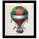 Steampunk Dictionary Art Print 8x10 Colorful Hot Air Balloon 19th Century Travel