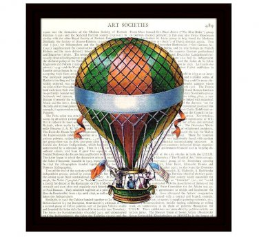 Steampunk Dictionary Art Print 8x10 Colorful Hot Air Balloon 19th Century Travel