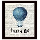 Dictionary Art Print Dream Big 8 x 10 Hot Air Balloon Inspirational Motivational