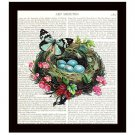 Botanical Dictionary Art Print 8 x 10 Colorful Collage Bird Nest Eggs Butterfly