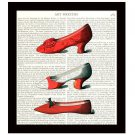Red Shoes Dictionary Art Print 8 x 10 Vintage Fashion Collage Decor Wall Art