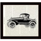 Dictionary Art Print 8 x 10 1920s Couple in Vintage Car Bridal First Anniversary