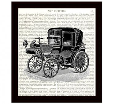 Dictionary Art Print 8 x 10 Victorian Horseless Carriage Vintage Car Home Decor