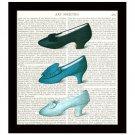 Blue Shoes Dictionary Art Print 8 x 10 Vintage Fashion Collage Decor Accessories