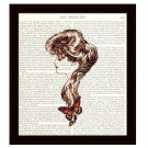 Dictionary Art Print 8 x 10 Woman with Butterfly Collage Portrait Style Fashion