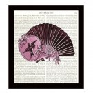 Dictionary Art Print 8 x 10 Pink Victorian Ladies Fans Vintage Fashion Decor