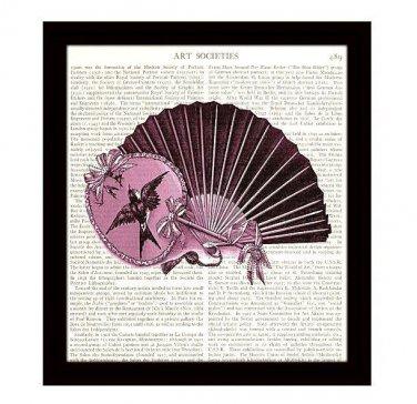 Dictionary Art Print 8 x 10 Pink Victorian Ladies Fans Vintage Fashion Decor