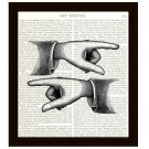 Dictionary Art Print 8 x 10 Pointing Fingers Which Way Victorian Illustration