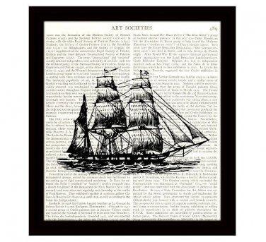 Nautical 8 x 10 Dictionary Art Print Vintage Barque Sailing Ship Home Decor