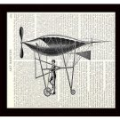 Dictionary Art Print 8 x 10 Steampunk Bicycle Powered Zeppelin Flying Machine