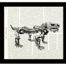 Dinosaur Dictionary Art Print 8x10 Pareiasaurus Skeleton Archaeology Prehistoric