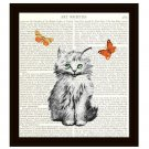 Cat Dictionary Art Print 8 x 10 Kitten with Butterflies Illustration Home Decor