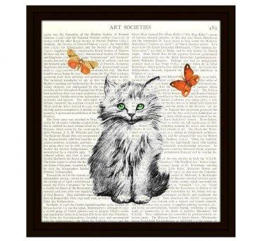 Cat Dictionary Art Print 8 x 10 Kitten with Butterflies Illustration Home Decor