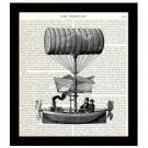 Dictionary Art Print 8 x 10 Steampunk 19th Century Flying Machine Steam Powered
