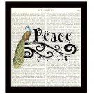 Dictionary Art Print 8 x 10 Peace Inspirational Peacock Collage Home Decor
