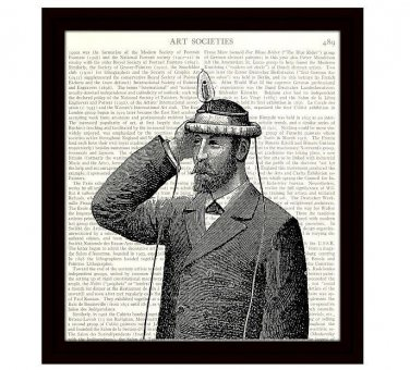 Dictionary Art Print 8 x 10 Steampunk Invention Victorian Man With Light Bulb