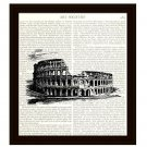 The Colosseum in Rome 8 x 10 Dictionary Art Print Travel Historical Landmark