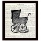 Dictionary Art Print Victorian Baby Carriage Pram 8 x 10 Nursery Decor Gift