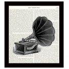 Dictionary Art Print Victorian Music Player 8 x 10 Vintage Victrola Home Decor