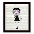 Betty Boop Dictionary Art Print Pink Glasses 8 x 10 Cartoon Wall Art Home Decor