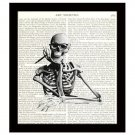 Writer 8 x 10 Dictionary Art Print Skeleton With Pen Waiting for Inspiration