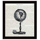 Dictionary Art Print 8 x 10 Old Fashioned Globe Travel Decor Vintage Illustration