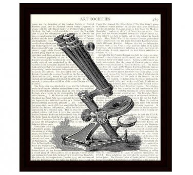 Dictionary Art Print 8 x 10 Victorian Microscope Science Medical School Lab