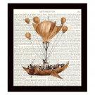 Dictionary Art Print 8x10 Hot Air Balloon Steampunk 19th Century Flying Machine