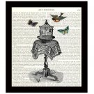 Birdcage 8 x 10 Dictionary Art Print Bird Butterflies Colorful Collage Home Decor
