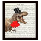 Dictionary Art Print 8x10 Dinosaur With Red Heart Balloons Fun Anniversary Gift