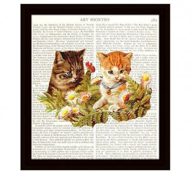 Cats Dictionary Art Print 8 x 10 Kittens in Garden Colorful Vintage Home Decor