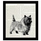 Cairn Terrier Dictionary Art Print 8 x 10 Home Decor Vintage Dog Illustration