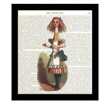 Alice in Wonderland Dictionary Art Print 8 x 10 Tall Alice Fairy Tale Home Decor