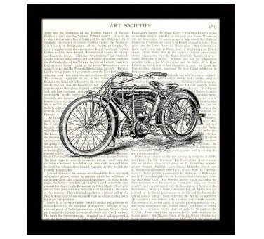 Motorcycle Dictionary Art Print 8 x 10 Retro Illustration Wall Art Home Decor