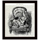 Dictionary Art Print 8 x 10 Alice in Wonderland Kitten Chair Children's Decor